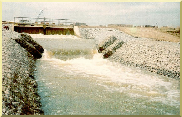 Gabion-lined spillway provides energy dissipation