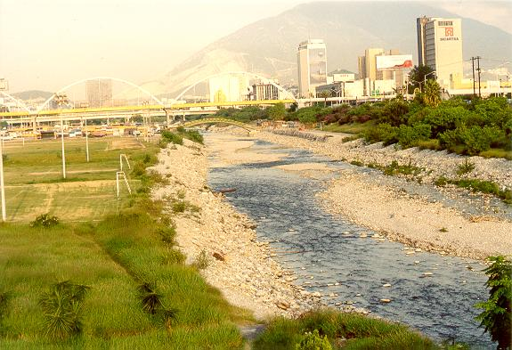The Santa Catarina river, with downtown Monterrey