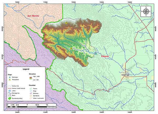 Los Gatos Creek basin map.