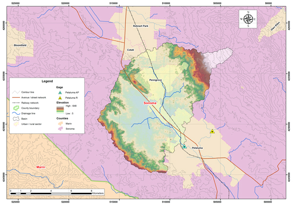 Petaluma river basin map.