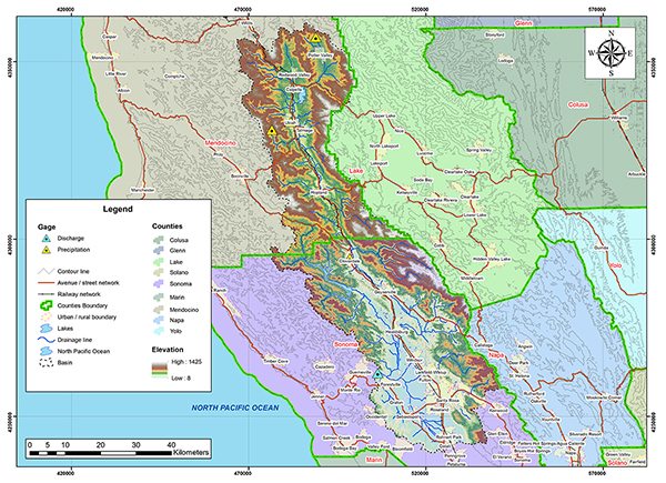 Russian river basin map.