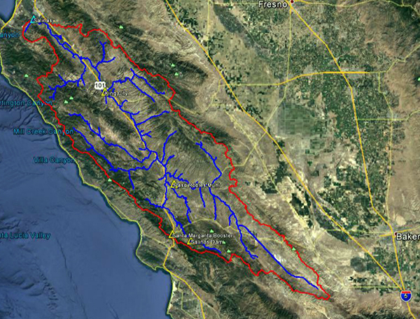 Aerial view of Salinas River basin.