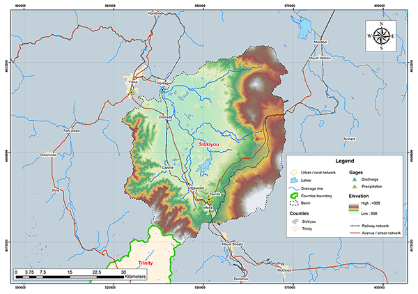Shasta river basin map.