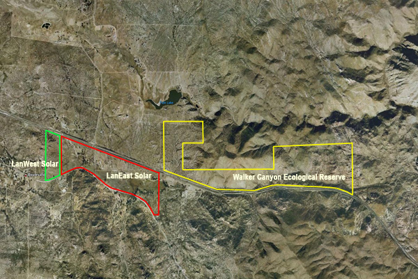 Location of Walker Canyon Ecological Reserve