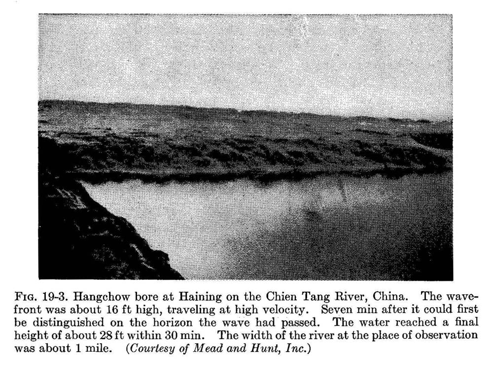 Hangchow bore at Haining on the Chien Tang River in China.