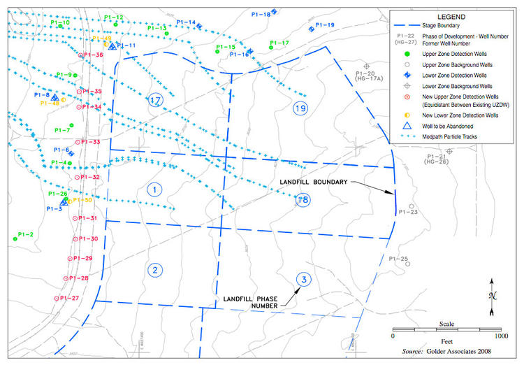 ;Proposed network of monitoring wells for phases 1-3 and 17-19