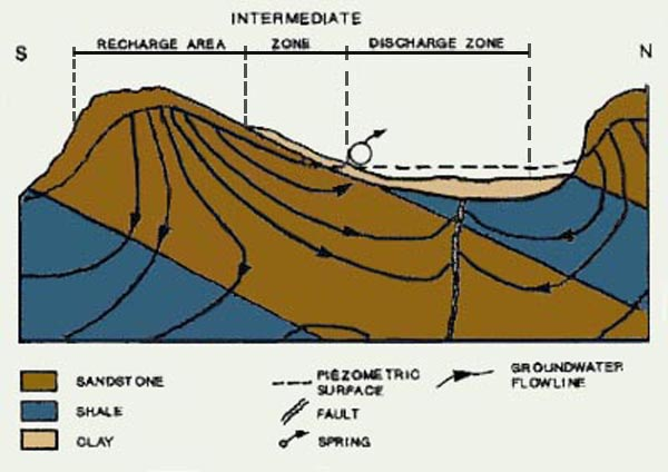 Typical recharge and discharge in groundwater systems