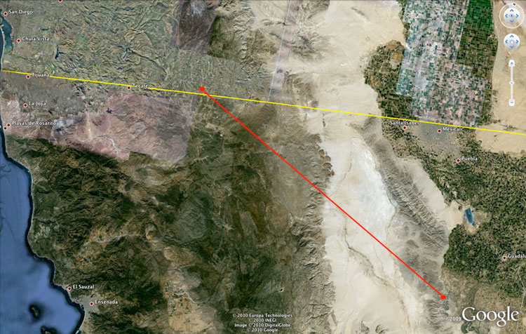 Distance from the epicenter of the 7.2 magnitude earthquake on April 4, 2010 in Baja California to the Campo landfill site