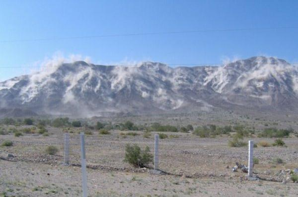 The Cucapah Range, near Mexicali, Baja California, being subjected to<br>strong ground motion during the April 4, 2010 earthquake