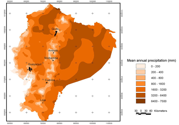 Mean annual precipitation isohyets for the Catacocha-Zamora transect