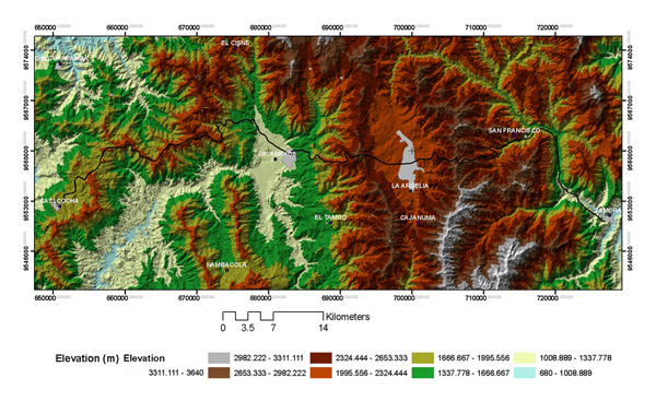 Topographic map comprising the Catacocha-Zamora transect