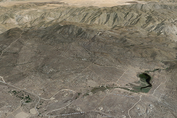 Aerial view of Mount Tule and environs, McCain valley, Boulevard