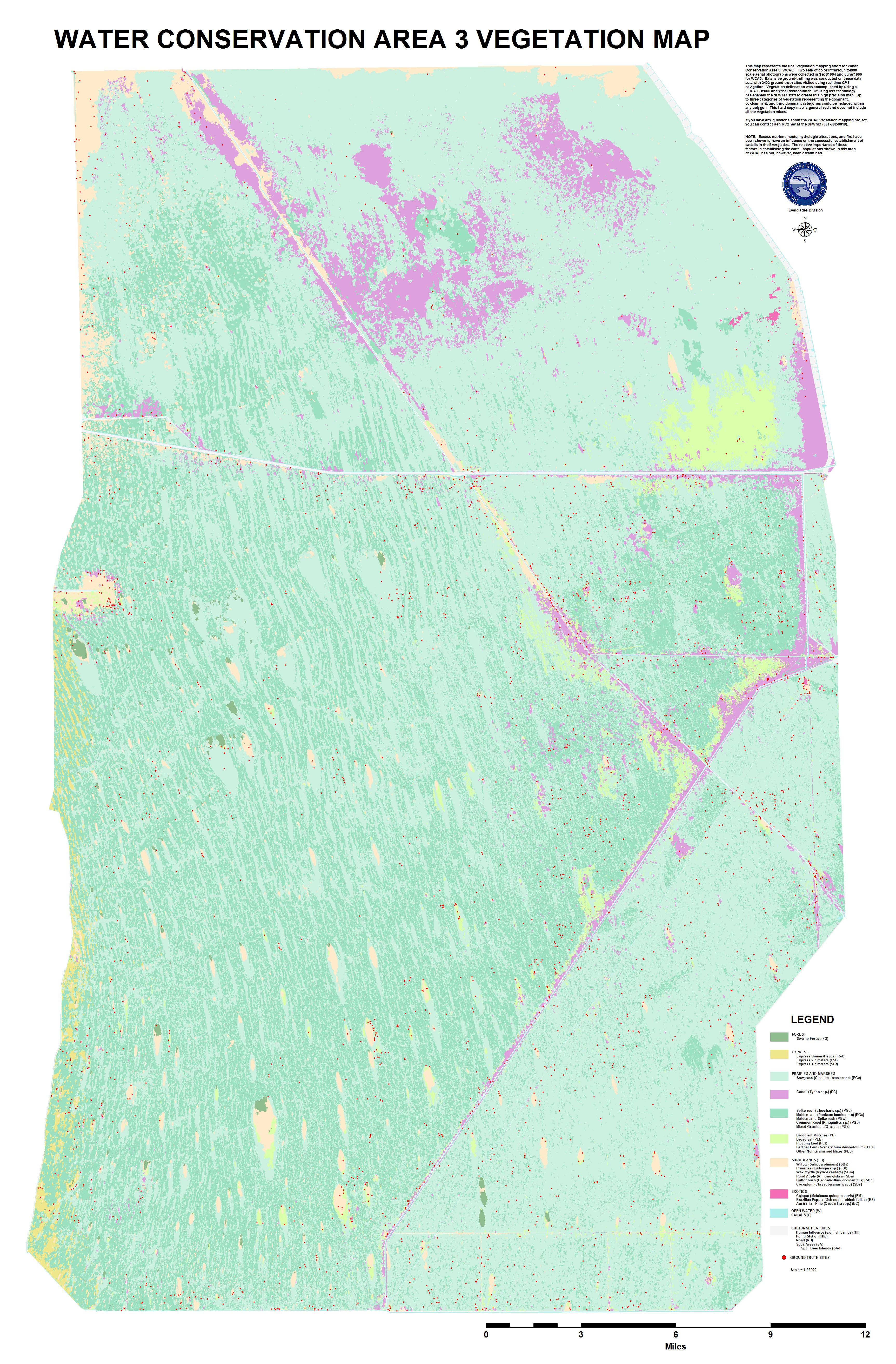 Vegetation map of Water Conservation Area 3, Everglades, South Florida (full scale)