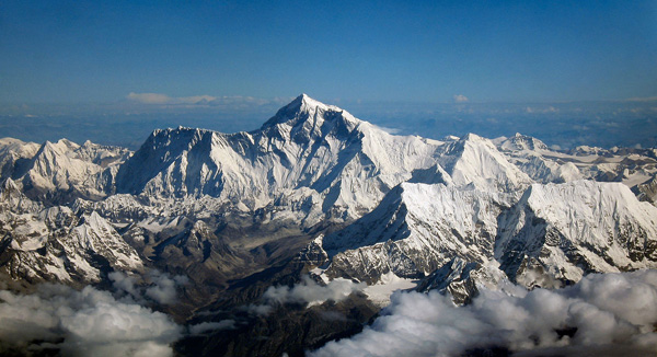 Aerial photo of Mount Everest.