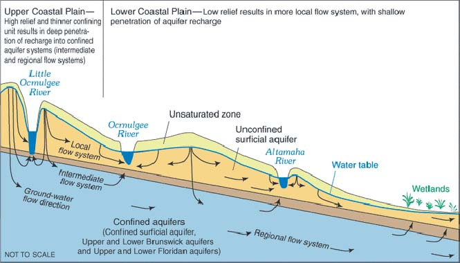 Conceptual hydrological flow system in Georgia's coastal plains.