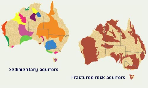Sedimentary and fractured rock aquifers in the Australian continent