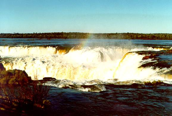 Devil's Throat at Iguazu Falls, on the border between Argentina and Brazil. The Iguazu river is a major tributary of the Parana river.