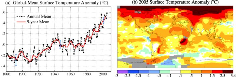 Global 2005 surface temperature anomalies