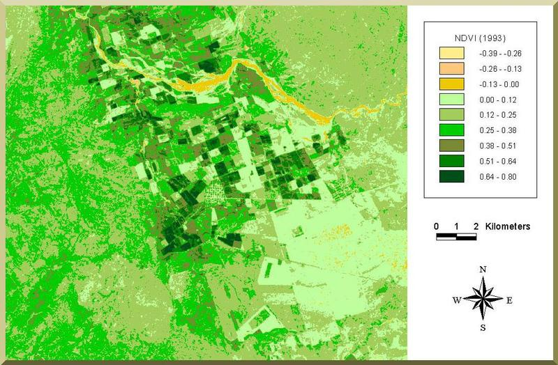NDVI photo of the Ojos Negros valley