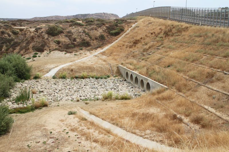 Culvert crossing the U.S.-Mexico border at Yogurt Canyon, California.