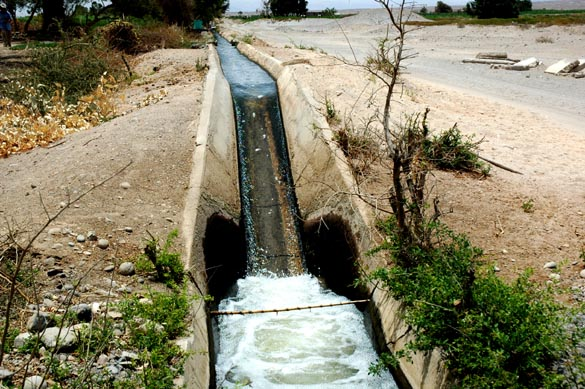 Drop in an irrigation canal, Arequipa, Peru.