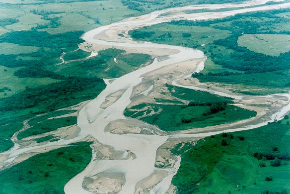 A braided channel: Guatiquia river, Meta department, Colombia