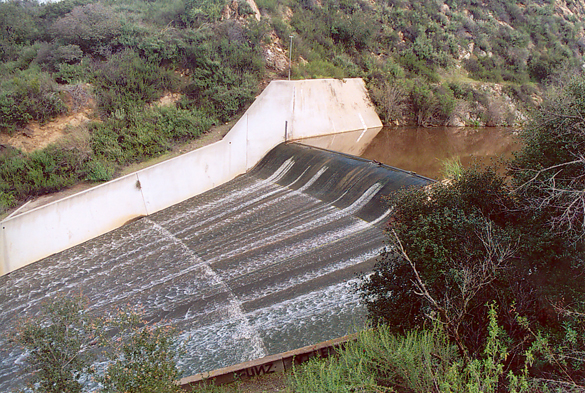 Critical flow over an emergency spillway, Turner reservoir, San Diego County, California