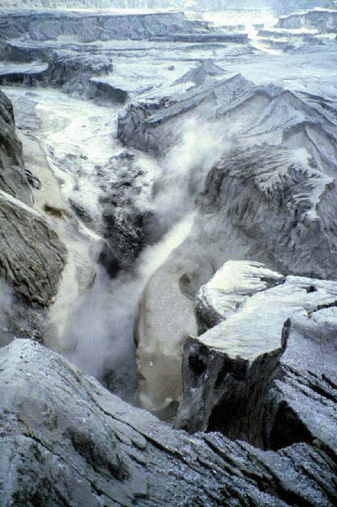 A lahar on the Lower Sacobia river, Phillipines, on July 22, 1993.