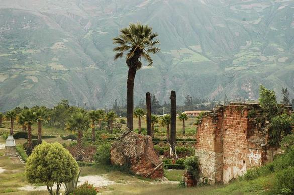 Remnant of the town of Yungay, Peru,  							 buried by a landslide on May 30, 1970.