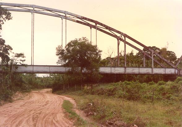 Railroad bridge spanning an old channel of the Pirai river, Santa Cruz de la Sierra, Bolivia
