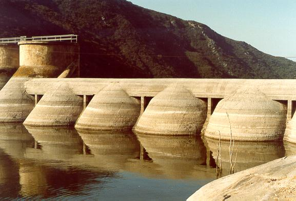 Detail of emergency spillway at Hodges dam, San Diego County, California