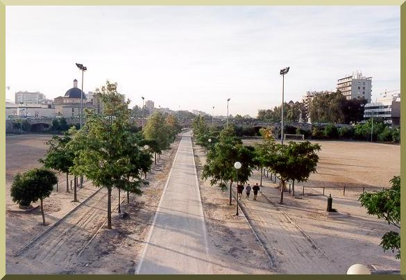 The Turia river, in Valencia, Spain, designed for recreation.