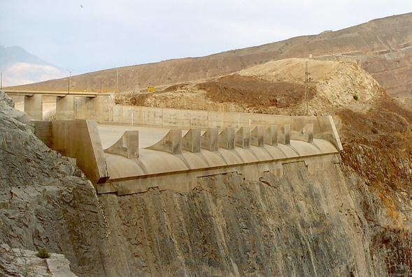 Upstream view of the emergency spillway channel.
