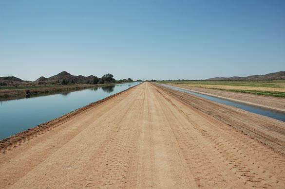 Parallel irrigation and drainage canals, Wellton-Mohawk, Arizona