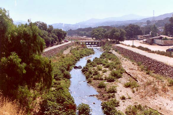 The Tecate river at Rincon Tecate,  Baja California, Mexico (km 9+400).