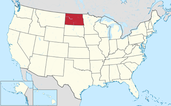 Location of North Dakota in the United States.