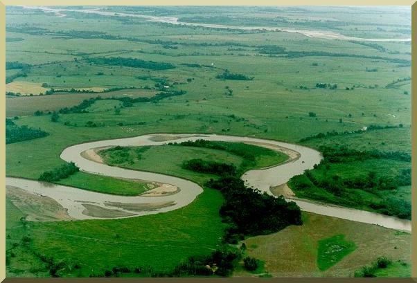 Meandering river in the flood plain of the Rio Meta, Colombia.