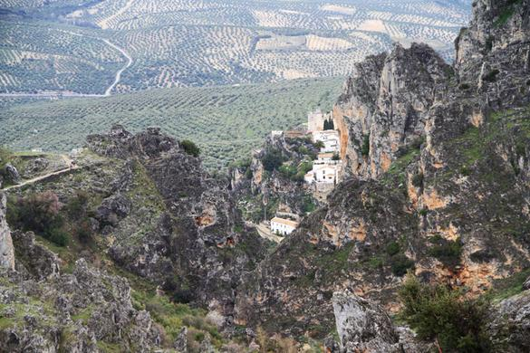 View of Zuheros, from the Sierra Subbética, Andalucía, Spain