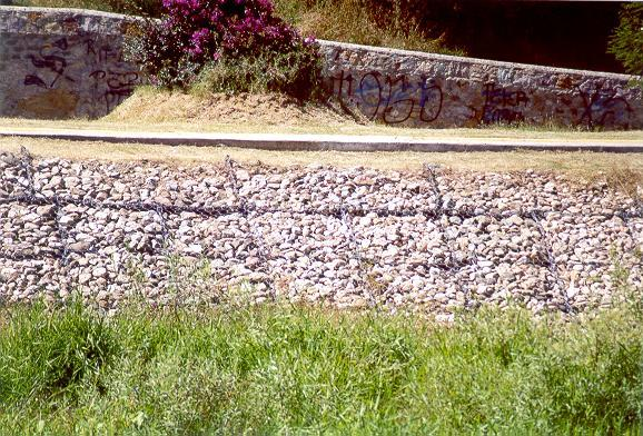 Detail of gabions on the right bank
