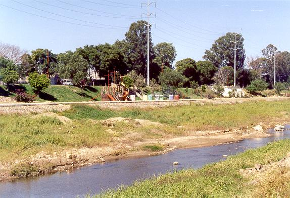 View of the right bank of Rio Atoyac, showing gabions and recreational fixtures