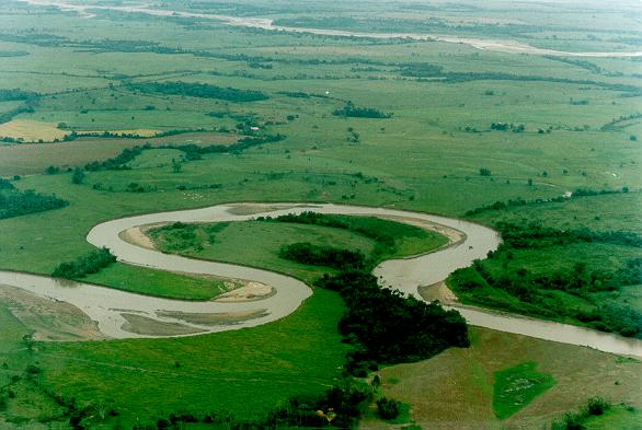 Meander on the Humea river, tributary of the Meta river, Meta department, Colombia