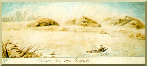 View of Three Sisters Hills (Tres Irmãos) , in the Upper Paraguay river, near Fuerte Olimpo,Paraguay (painting by Miguel Ciera, 1758)