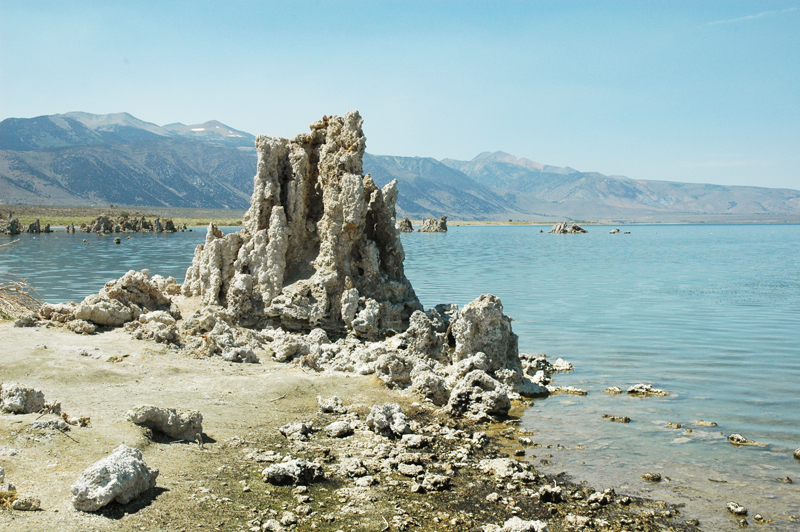 Tufa limestone formations exposed in Mono Lake, California
