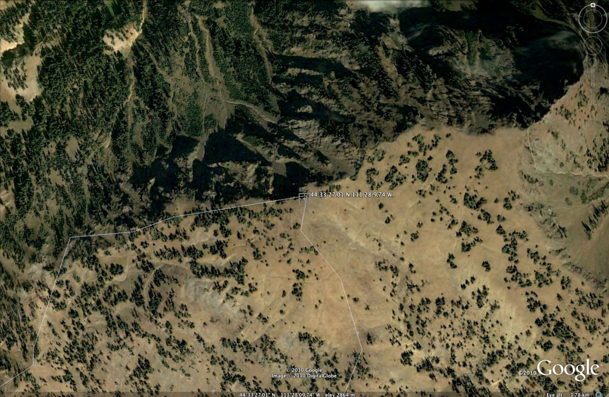 Aerial view of the source of the Missouri River,  at 44 33' 27.01