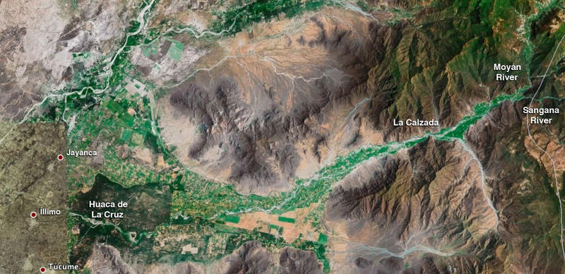 Satellite image of the upper and middle La Leche river valley