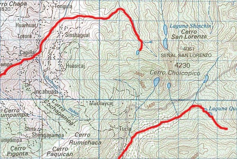 Map of Cerro Choicopico (center right) and the town of Incahuasi (center left), showing in red color the headwater reaches of the Moy�n and Sangana rivers