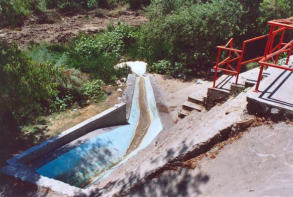 Point of discharge of treated effluent from PTAR CCM  to the Tecate river
