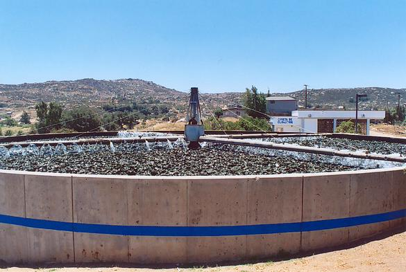 One of two trickling filter tanks at PTAR CESPTE