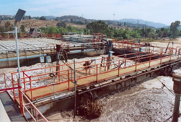 View of PTAR CCM sludge digestors.
