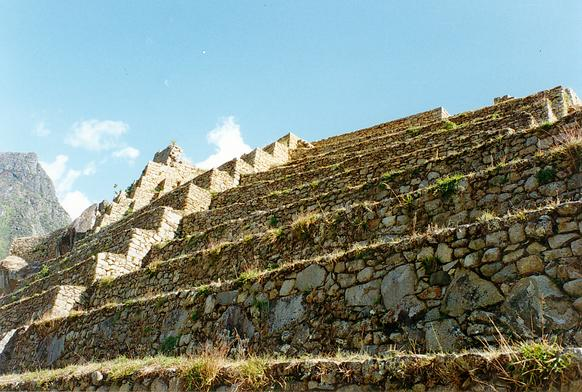 Detail of agricultural terraces at Machu Picchu.